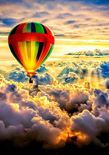JinWensm DIY Ölgemälde Vorgedruckt Leinwand Heißluftballon Malen nach Zahlen Set für Erwachsene Kinder Anfänger 16x20 Zoll / 40 x 50 cm Ohne Rahmen Home Haus Dekor