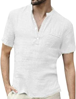 Mens Tee Casual Stand Collar Cotton Linen Solid Color Short Sleeve T Shirt Tee White Large
