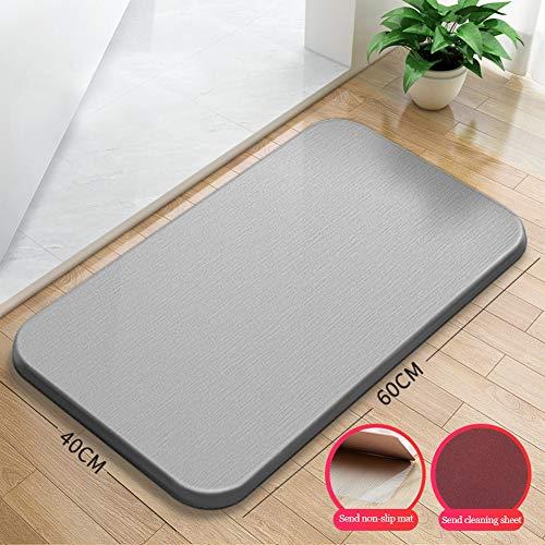 Soft Memory Foam Bath Mat, Non-Slip Badkamer badmat absorberende Bath Rubber Back Channel keuken en badkamer mattenset,Gray,60 * 40cm