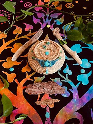 ๑◦•●◉ Erde und Natur Halsband ◉●•◦๑ 2 in 1 Halskette und Choker makramee in braun und blau mit Howlite Stein in türkis
