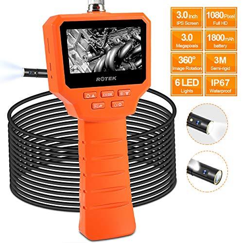 ROTEK Industrielles Endoskop Zwei Linsen, 3,0 Zoll 1080P Full HD IPS LCD Digitale Inspektionskamera 3,0 Megapixel Endoskopkamera 6 LEDs mit IP67 Wasserdichter Halbsteifer Schlangen Kamera - 5 Meter