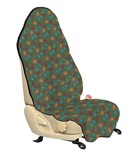 ABAKUHAUS Etnisch Beschermhoes voor autostoelen, BloemenWervelingen, met Antislip Achterkant, Universele Maat, 75 x 145 cm, Oranje Blauw en rood