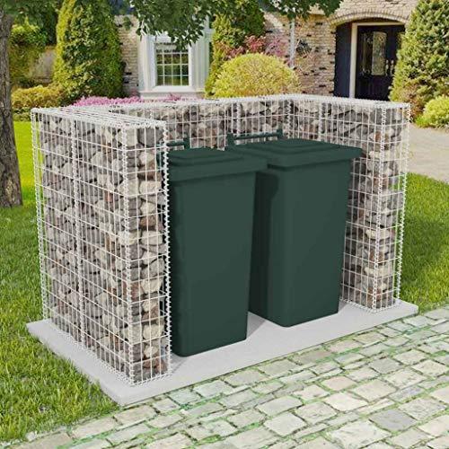 CASTLOVE Gabionen-Mülltonnenverkleidung für 2 Tonnen Stahl 180×100×120cm