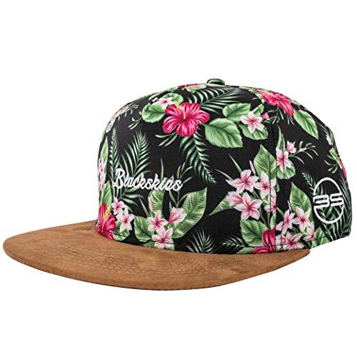 Blackskies Oahu Snapback Cap | Hombres Mujeres Gorra Unisex Gorra de Béisbol Flores Floral Suede Verde