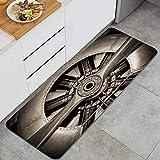 GLONLY Tonos Sepia del Motor de Aviones Antiguos y la hélice Closeup Alfombrillas de Cocina Antideslizantes Felpudo Lavable Juego de Alfombras de Microfibra