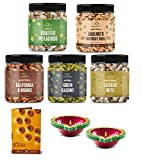 GreenFinity Dry Fruits Combo Pack - 1.175kg (Almonds, Cashews, Pistachios, Raisins - 250g, Walnuts Without Shells - 175g) - Healthy Gift Hamper With a Greeting Card and Two Terracotta Diya/Deepak/Candle Diwali Celebration Pack