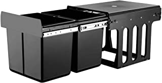 2X15L Pull Out Kitchen Waste Bin with Double Dual Sliding Design Easy to Install Waste Basket Black