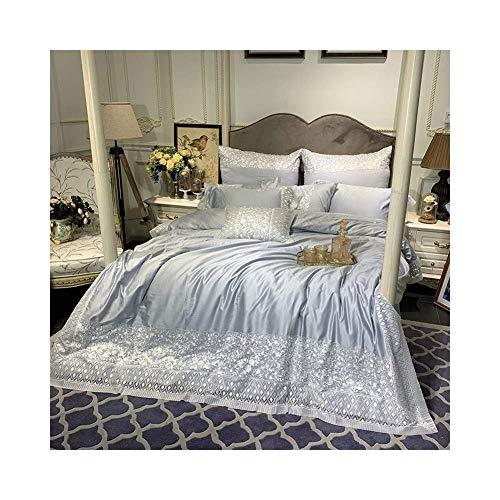 ZHAS Vierteilige Bettdecke, extra große, allergiefreie Baumwolle, amerikanisches Doppelbett, atmungsaktives, saugfähiges und feuchtigkeitsableitendes Bettwäscheset (Farbe: Grau, Größe: 200 cm x 2