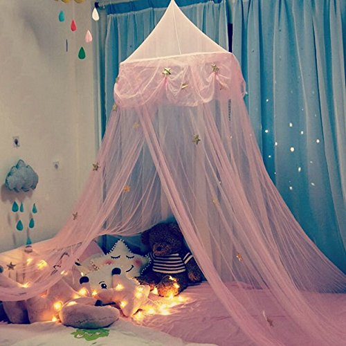 NIBESSER Ciel de Lit Fille Princesse Rose Chambre Papillons Moustiquaire en Filet (250cm, Dream Star(sans Poteau))
