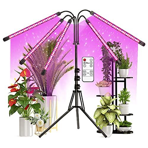 PATISZON Pflanzenlampe LED 15W Pflanzenlicht 5 Röhren 150LEDs Pflanzenleuchte Vollspektrum 360°Einstellbar Wachstumslampe mit 3 Licht-Modi UV Lampe für Zimmerpflanzen mit Zeitschaltuhr 5V DC