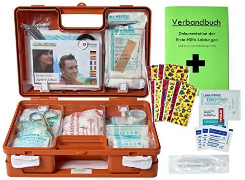 Erste-Hilfe-Koffer Kita incl.Hygiene-Ausstattung nach DIN 13157 für Betriebe + DIN/EN 13164 für KFZ - mit Verbandbuch & Wundreinigung