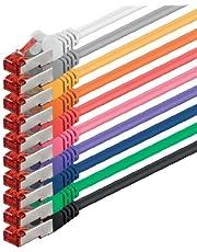 Nätverkskabel Cat 6 (3m - 10 färger) Ethernet-kabel Cat-kabel Lan-kabel Cat6 (SFTP PIMF) dubbelskärmad Patchkabeluppsättning 1000 Mbit/s Internet DSL-anslutning Router Dator