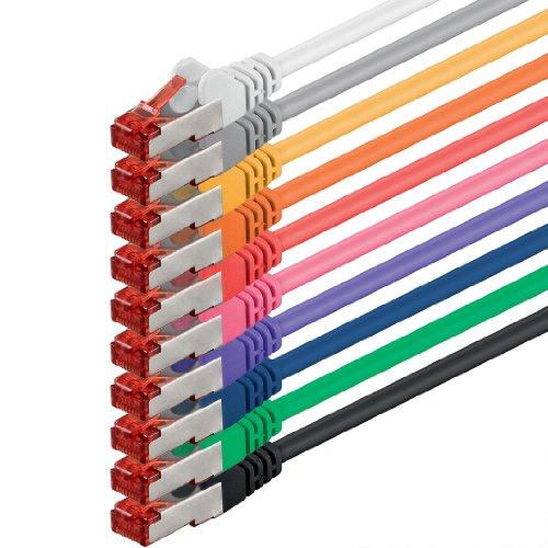 Netzwerkkabel Cat 6 (0,25m - 10 Farben) Ethernetkabel Cat Kabel Lankabel Cat6 (SFTP PIMF) doppelt geschirmt Patchkabel Set 1000 Mbit/s Internet DSL Anschluss Router Computer