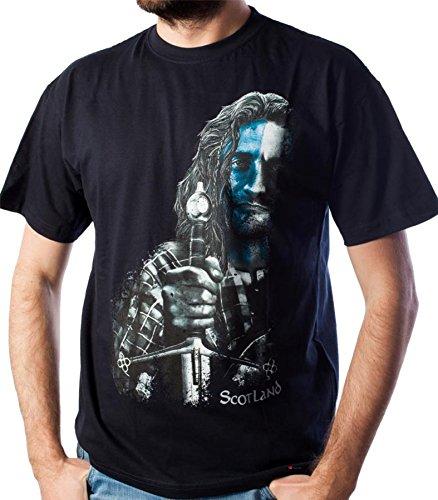 iLuv Men's Half Highlander Design T-Shirt with Scotland Text in Navy Size Small