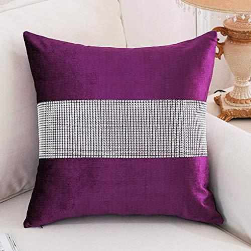HeMiaor Set de 4 Fundas de Almohada púrpura de 18x18 Pulgadas, Cubierta de cojín de Tira de Diamantes de imitación ordenada con Cremallera Oculta para la decoración de la Silla de Boda