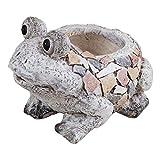 Juliana Country Living - Maceta rústica con efecto de piedra de mosaico, diseño de rana, flores, decoración de regalo