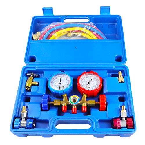 AEagle 3 Way AC Diagnostic Manifold Gauge Set, for Freon Charging, Fits R134A R12 R22 and R502 Refrigerants
