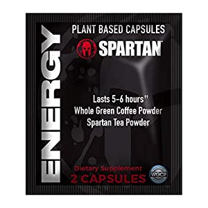 SPARTAN Energy Capsules - Natural Energy Pills with Caffeine, L-Theanine and Tea Powder (20 Packs)