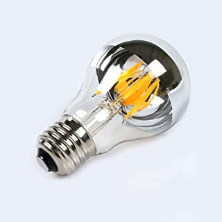 Dgyao Half Chrome Light Bulb Dimmable LED Filament Vintage Bulb with Mirror 6W(60W Equivalent) A60 E26 Medium Base Warm White 2700K