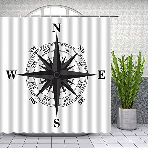 None brand Kompass-Duschvorhänge Wild Forest Adventure Jungenzimmer mit weißem Hintergr& Badezimmerdekor Wasserdichter Stoffvorhang-180 cm x 200 cm