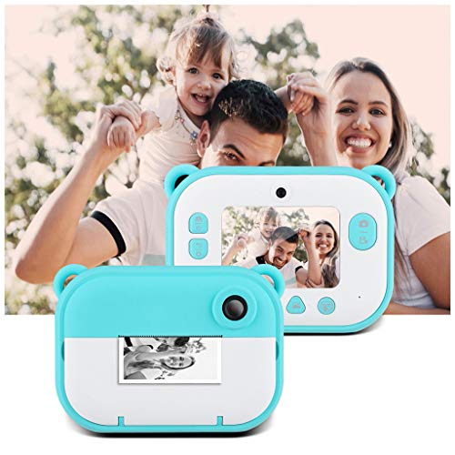 Fine Portable Kids Digital Camera,1200w+1200w Dual Lens Instant Print Digital Camera 2.4in IPS Display Creative Toys Camera (Blue)
