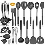 36PCS Stainless Steel Silicone Kitchen Cooking Utensil Set with Stand for Countertop, Cook Gadgets Kitchen Utensils Spatula Sets with Utensil Stand for Cookware (Dark Grey)