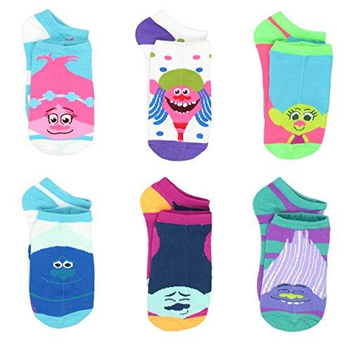 Trolls Teen Womens 6 pack Socks (9-11 Womens (Shoe: 4-10), Trolls Neon)