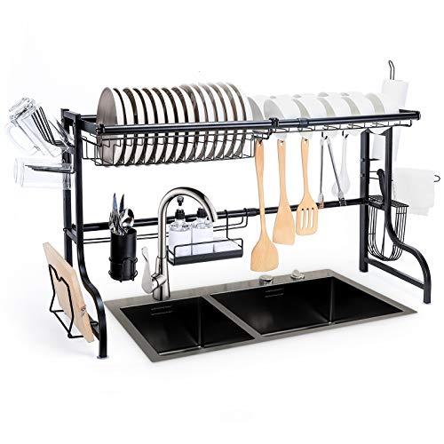 Yorbay Escurreplatos Ajustable, Escurridor de Cubiertos Estante Organizador para Fregadero con Ganchos para Utensilios de Cocina, Almacenamiento para Platos, Cuencos y ollas