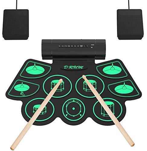 Elektronisches Schlagzeug Kit 9 Pads Tragbare Roll Up Midi Tabletop E-Drum Schlagzeug Set mit Eingebautem Lautsprecher Drum Fußpedal Drumsticks für Kinder Anfänger - Uverbon