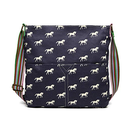Miss Lulu Messenger Bag School Bag Horse Canvas Crossbody Satchel Shoulder Bag Girls (L1104H Navy)