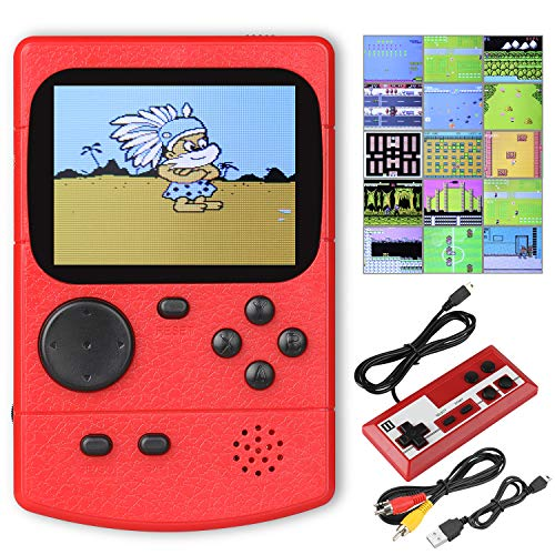 Anpro Handheld Spielkonsolemit 500 klassischen Spielen, Videospielkonsole mit 2.8-Zoll-LCD-Bildschirm, Doppelspieler-ModusTV-Anschlussfür Kinder und Erwachsene