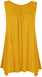 Ladies Jersey Hanky Hem Sleeveless Scoop Neck Vest Top US Size 4-22