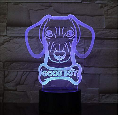 Benutzerdefinierte Hundename Glowing 3D Led Lampe Dackel Wurst Hundeform Moderne Leuchttischlampe Wienerdog Animal Pet Welpe Good Boy