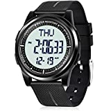 Beeasy Mens Digital Watch Waterproof with Alarm Stopwatch Countdown Timer Dual Time, 12/24 Hours Thin Digital Wrist Watches for Men