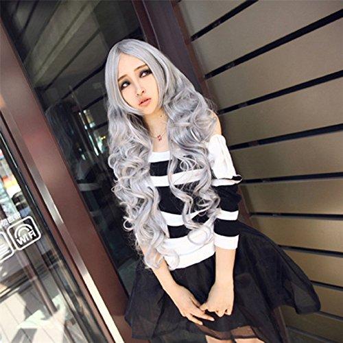80cm Lange Wellte lockige Haare Perücken Wie reale Menschenhaar Pony Cosplay Kostueme Manga Schaufensterpuppen Grau