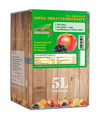 Pfannenschwarz Apfel-Johannisbeersaft 100% Direktsaft, 2er Pack (2x5 l Bag in Box)