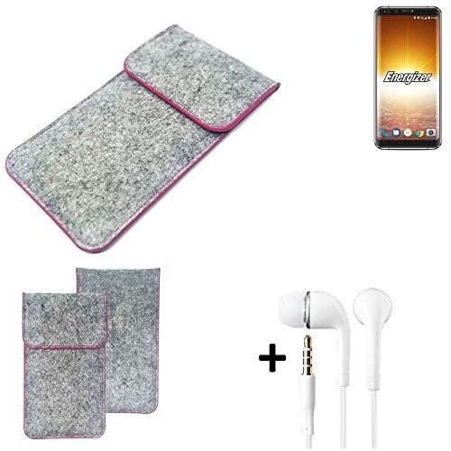 K-S-Trade® Filz Schutz Hülle Für Energizer P600S Schutzhülle Filztasche Pouch Tasche Case Sleeve Handyhülle Filzhülle Hellgrau Pinker Rand + Kopfhörer