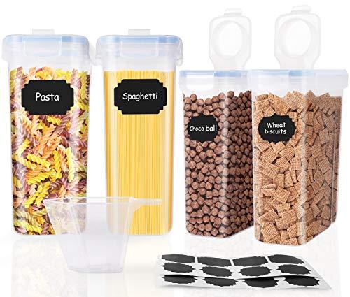 SOLEDI Contenedores Almacenamiento Alimentos Con Tapas Juego de 4 Almacenamiento de Alimentos de Gran Capacidad Buena Estanqueidad al Aire Mantenga Frescos y Puede Almacenar Cereales