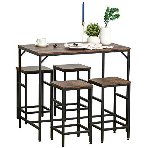 HOMCOM Bartisch-Set Stehtisch mit 4 Barhockern 5-teiliges Tischset Küchentresen Spanplatte Stahl Rustikales Braun+Schwarz 100 x 60 x 88 cm