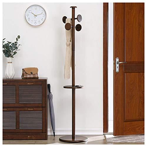 NIUZIMU kapstok bruin kapstok, massief houten staander rek coat, met handdoeken staand, entree slaapkamer woonkamer sjaal muts -123