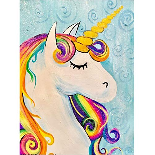 Kits de pintura de diamante para adultos, diseño de caballo 5D redondo de bricolaje perfecto para relajación y decoración de pared del hogar, 30 x 39,9 cm