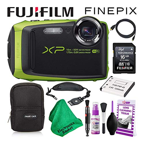 Fujifilm FinePix XP125 Waterproof Digital Camera (Lime) Budget-Friendly Camera Accessory Bundle Includes Camera Cleaning Kit, Zippered Carrying Case, and Lots More