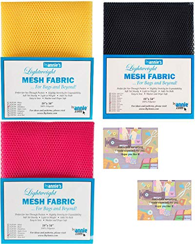 """ByAnnie's Mesh Fabric Lightweight Bundle-Dandelion, Lipstick and Navy 18"""" x 54"""" with 2 Mini Gift Cards-5 Items"""