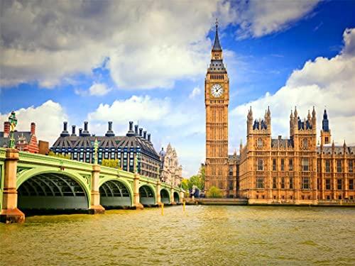 5D Diamante Bordado Decoración Del Hogar Big Ben Big Ben Londres Reloj Diamante Mosaico Bordado Redondo Taladro 30*40 Cm