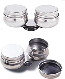 EORTA 2 Pack Portable Pallete Cups Stainless Steel Double Dipper Large Mouth Paint Cleaning Container with Screw Cap and C...
