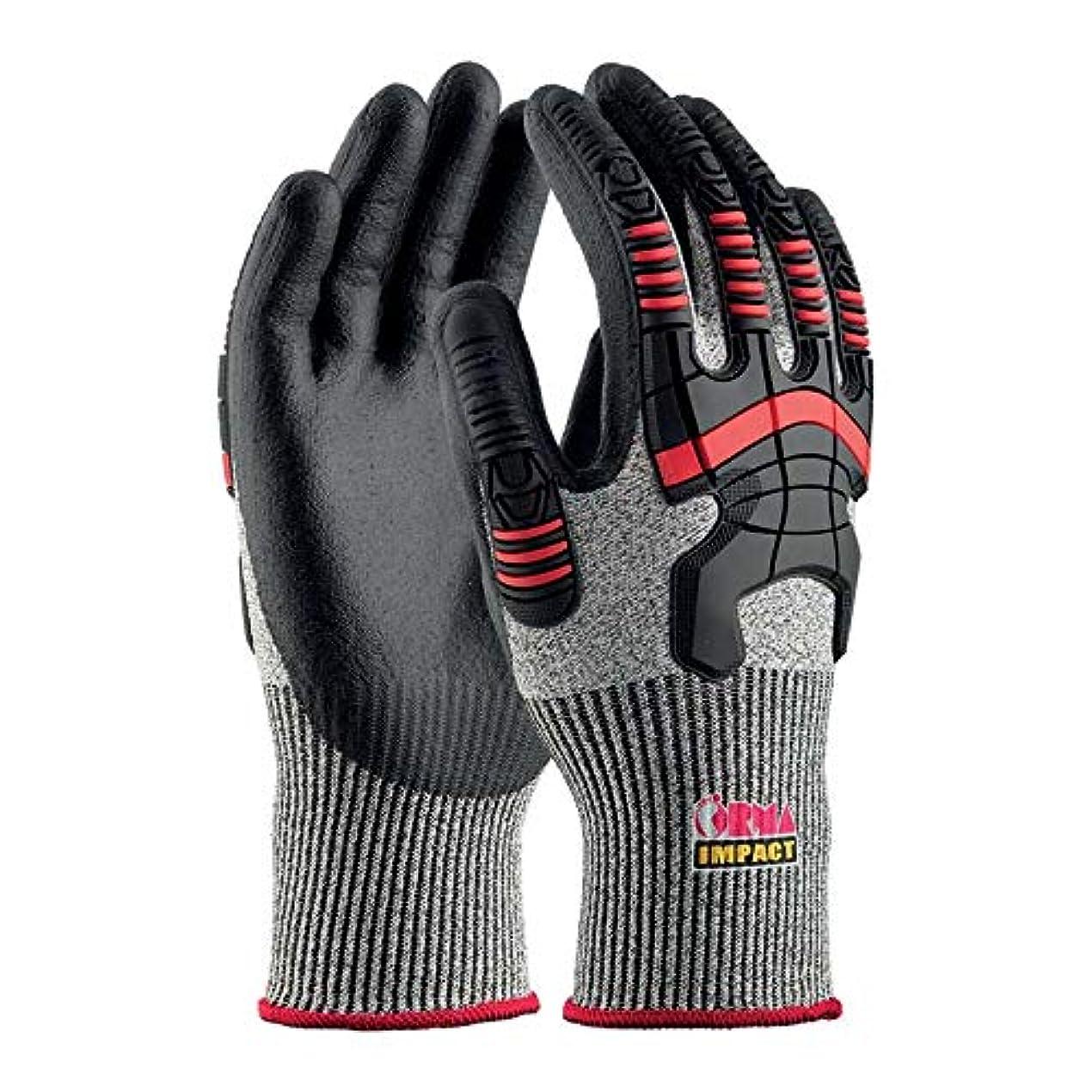 視線ローラーカップOrma 18000GO070_6作業用手袋、グレー/ブラック
