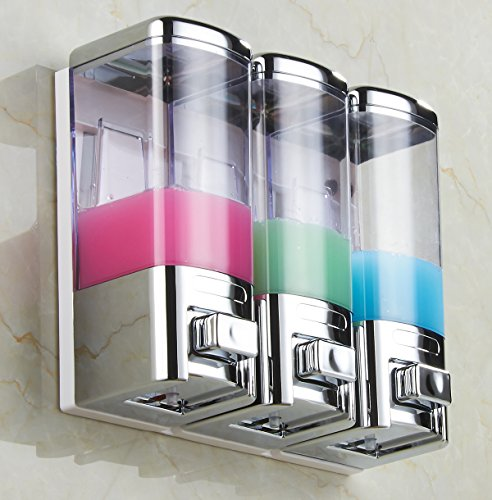 Luxury & Chrome Shampoo Dispenser Pump,Shower Gel,Conditioner,Lotion Dispenser Pump,Wall Mounted 3 Chamber,16X3=48-Ounces,Two Options for Installation,GBW-8503