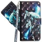 MRSTER LG Q60 Handytasche, Leder Schutzhülle Brieftasche Hülle Flip Hülle 3D Muster Cover mit Kartenfach Magnet Tasche Handyhüllen für LG Q60 / LG K50. YX 3D - Wolf