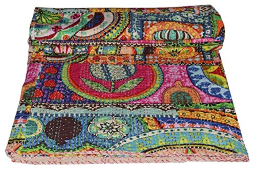 STALLION COTTON CLOTHING Indian Cotton Kantha Quilt King Bedspreads Throw Blanket (Multi Floral) Bohemian Bedspread , Bohemian Bedding , Handmade Kantha Quilt , King Size Kantha Quilt , Bed Cover