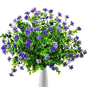 Artificial Outdoor Fake Flowers UV Resistant Shrubs Plants, 4 Bundles Faux Plastic Flowers Greenery for Indoor Outside Hanging Plants Home Porch Wedding Garden Patio Window Box Décor (Purple)